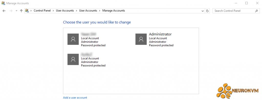 change rdp password using control panel