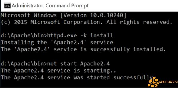 How to run Apache on admin RDP