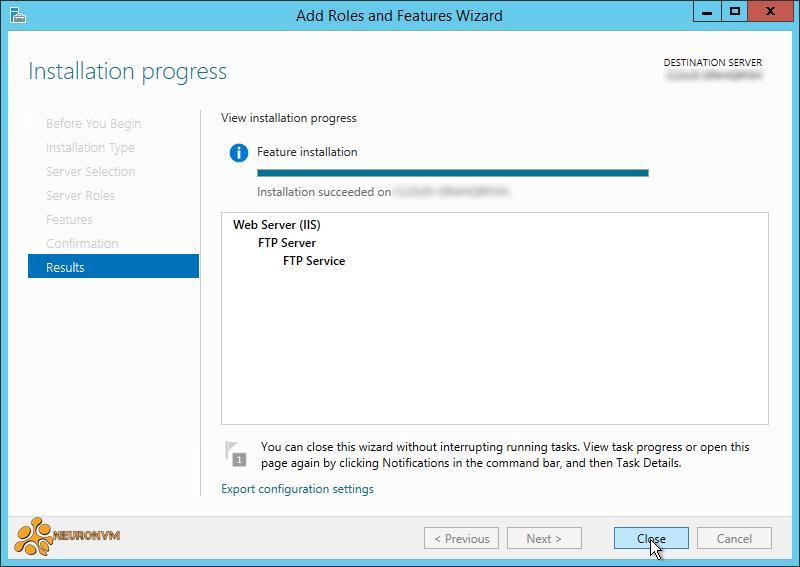 ftp server installing progress on rdp 2012
