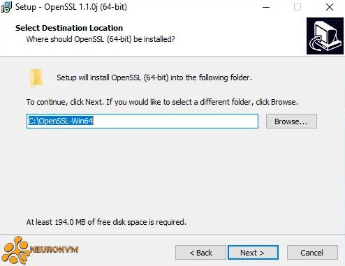 select destination folder to instal openssl