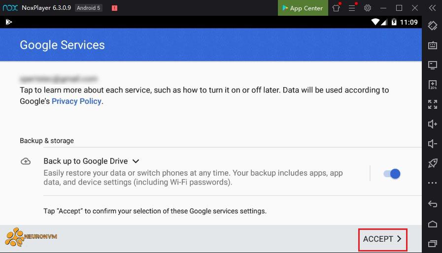 Confirm google service settings