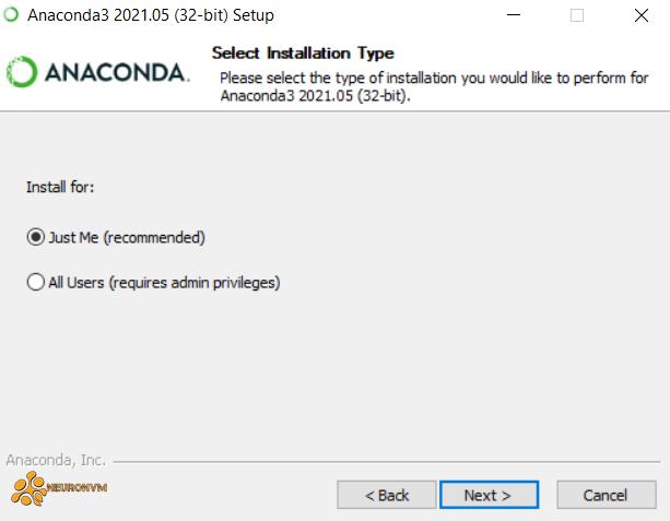 select installation type-anaconda