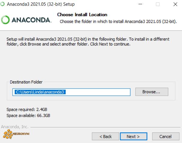 choose install location-anaconda