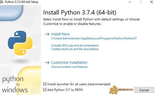 install python on rdp 2019