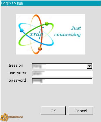 loging to kali using xrdp