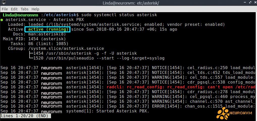 running asterisk server on ubuntu