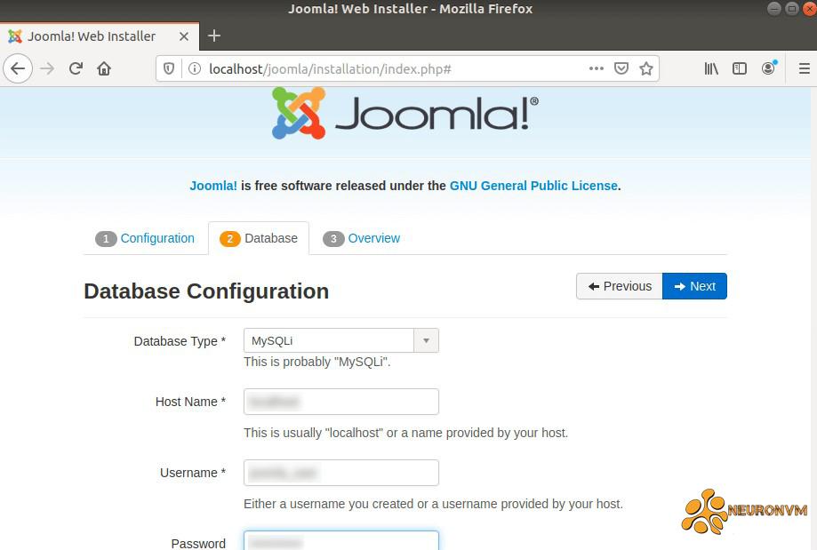 Joomla MySQL settings