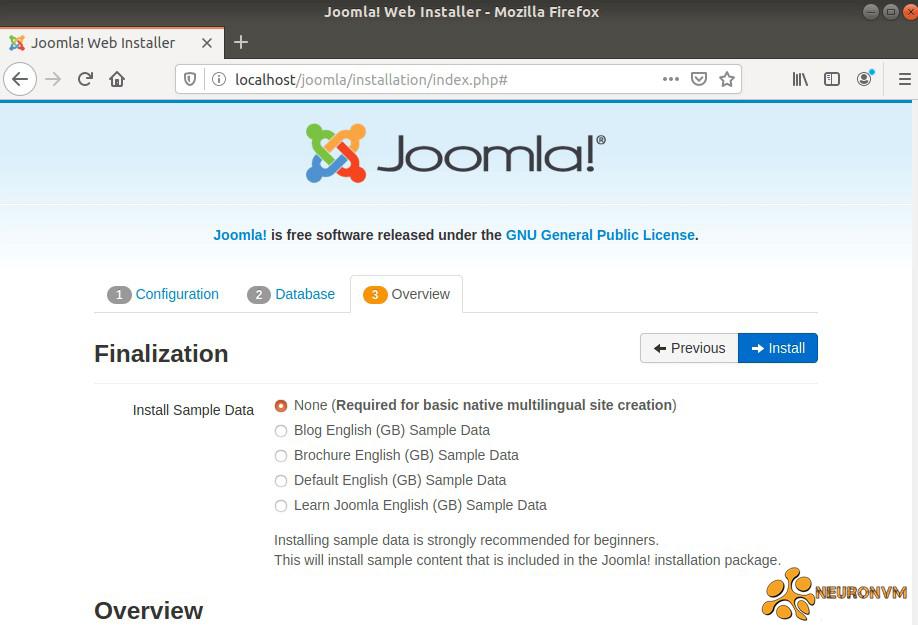 Joomla installation overview
