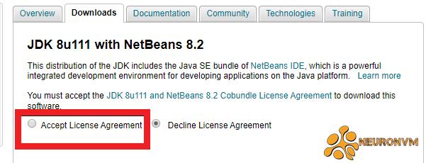 Accept license agreement NetBeans