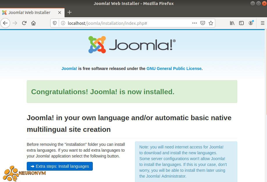 Joomla installation progress